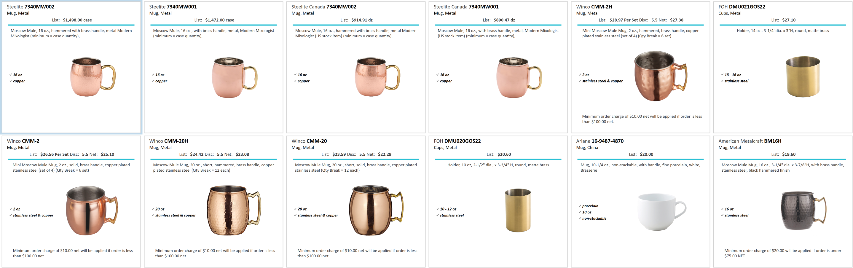 Spec Search Enabled results for a brass mug