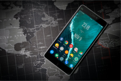 Image of phone with map in the background