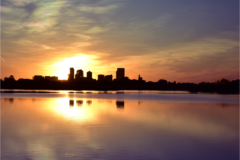 Photograph of sunrise over sloan's lake in denver