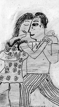 Tangopaar: detail krastekening - Marianne van Berlo