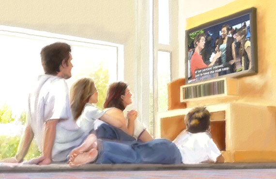 A family watching televison with captions on.