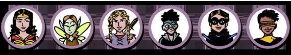 Student account avatars, superhero with tiara, fairy, warrior, superhero with face mask, superhero with eye mask, superhero with visor.
