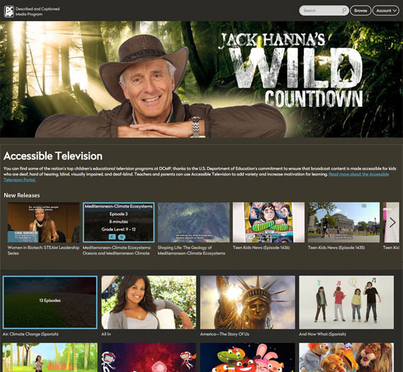 Accessible Television webpage. Large image of Jack Hanna's Wild Countdown. Rows of small image previews of videos.