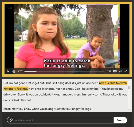 Screen capture of DCMP video player with text below and a search bar.