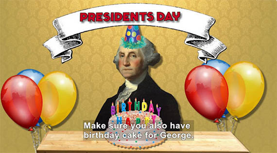 George Washington sits behind a birthday cake and balloons.