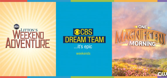 Logos for Litton Weekend Adventure, CBS Dream Team and One Magnificent Morning.