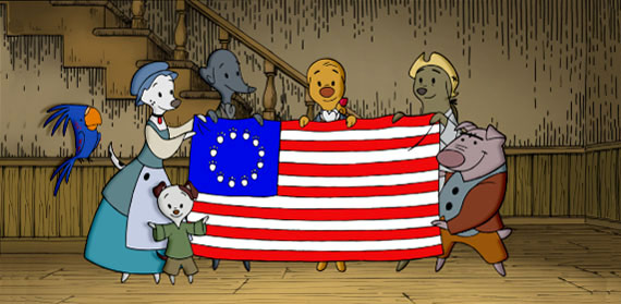Animated colonial dog characters from Pups of Liberty hold a thirteen-starred American flag.