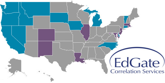map of the united states and logo for edgate correlation services.