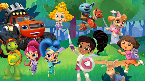 Nickelodeon characters together in a wooded area.