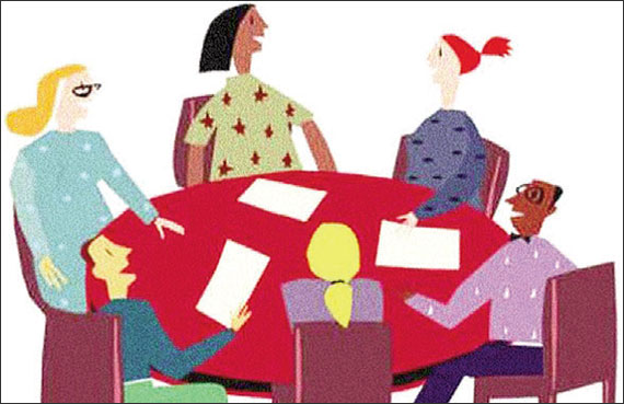 Cartoon of several people sitting around a table.