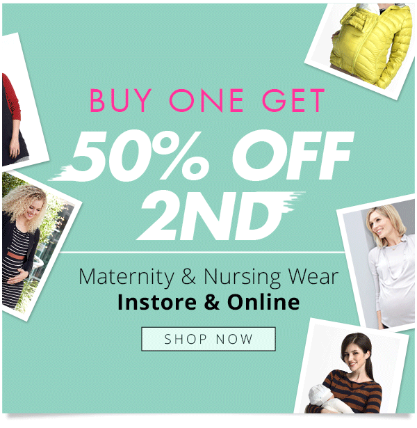 Buy one get 50% off 2ND maternity & nursing wear at Mamaway