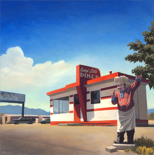 """Betty's Little Diner"" Roadside architecture. copyright Michael Reed Baum Paintings of the Southwest"