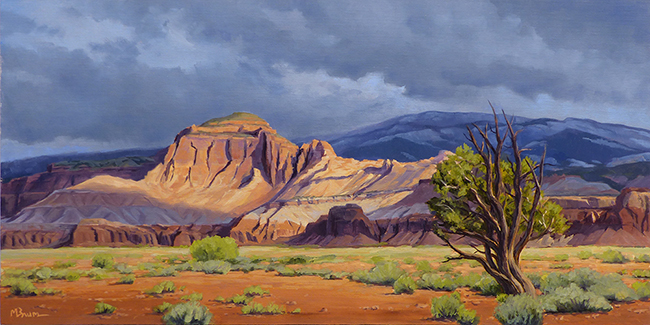 """""""A Break in the Weather""""  Morning sunlight breaks through the clouds in Capitol Reef, Utah. copyright Michael Baum 