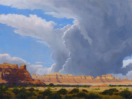 """""""Storm Building over the Canyons"""" Canyon country in southeast Utah. copyright Michael Baum   Original oil paintings of Colorado and the Southwest"""
