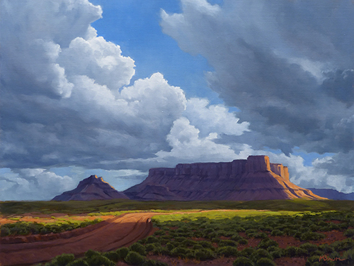 """Castle Valley"" A road winds into the backcountry. Clouds. Utah. copyright Michael Baum 