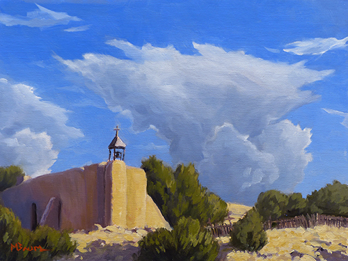 """""""Mission at Las Golondrinas"""" Spanish mission, church, Camino Real, Santa Fe, New Mexico. copyright Michael Baum 