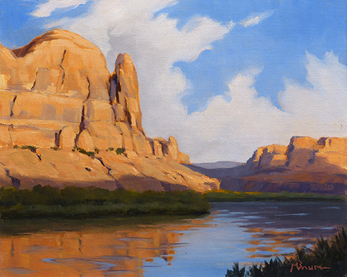 """""""Morning in the Canyon""""  Sunrise in the Colorado River Canyon near Bluff, Utah. copyright Michael Baum   Landscape paintings of the Southwest"""