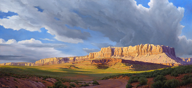 """""""Evening at the Bluffs"""" Last rays of sunlight on the cliffs of Butler Wash near Bluff, Utah. copyright Michael Baum 