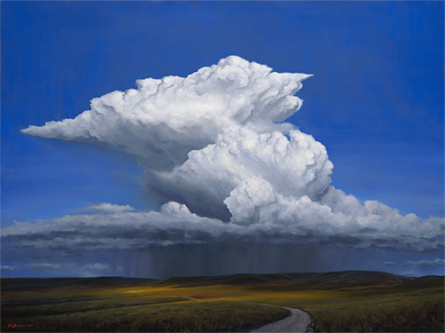 """Prairie Storm"" Thunderclouds explode as a road winds into the distance. copyright Michael Baum 