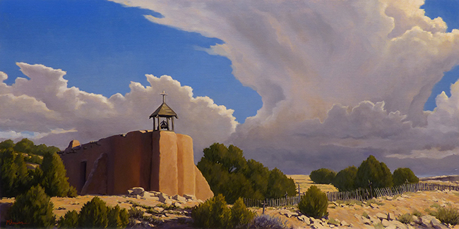 """""""Along the Camino Real"""" Mission church and thunderstorm rise from the earth at Las Golondrinas, New Mexico. copyright Michael Baum   Original landscape paintings of Colorado and the Southwest"""