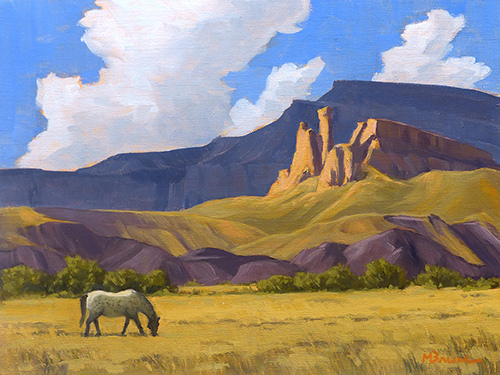 """""""Grazing Ghost Ranch"""" Cliffs, horse, Ghost Ranch, Georgia O'Keeffe. copyright Michael Reed Baum Paintings of the western and southwestern landscape"""