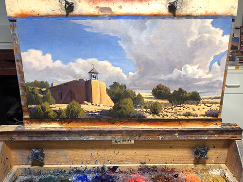 """""""Prairie Storm"""" A monsoonal storm blows up over the Praire. copyright Michael Baum Paintings of the Southwest"""
