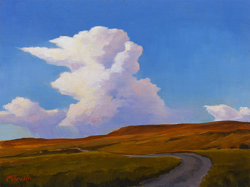 """Under Summer Sky""  A road winds toward a distant storm on the prairie. copyright Michael Baum 