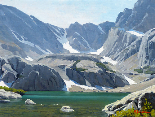 """Up at Sky Pond"" Mountains with alpine lake. copyright Michael Reed Baum Paintings of the western and southwestern landscape"