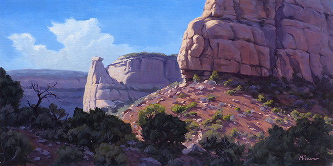 """""""Ramparts at Sunrise"""" Sunrise on the cliffs of Colorado National Monument. copyright Michael Baum 
