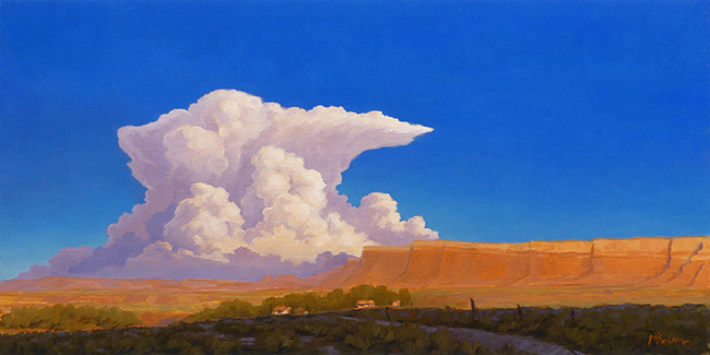 """In the Glow"" Cliffs in southeastern Utah glow. A thunder storm rises beyond. copyright Michael Baum 