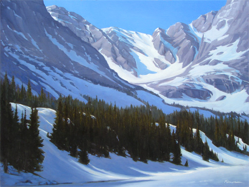 """Snowy Ridge, 3"" Winter peaks soar above an icy, alpine lake in the Colorado Rockies. copyright Michael Baum Paintings of the Southwest"