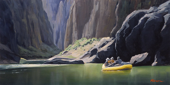 """On the River"" Canyons, rafting, river, reflections. copyright Michael Baum 