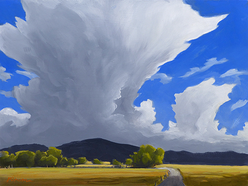 """""""Afternoon Storm over the Mountains"""" thunderstorm, prairie, road. copyright Michael Reed Baum Paintings of the western and southwestern landscape"""