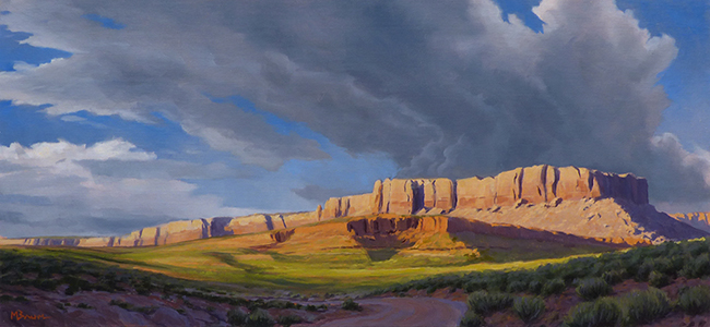 """""""Evening at Butler Wash"""" Canyons, desert, clouds, Bluff, Utah copyright Michael Baum 