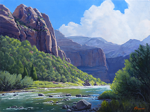 """Virgin River Country"" Morning sunlight on the Virgin River as it winds below the cliffs of Zion National Park, Utah copyright Michael Baum 