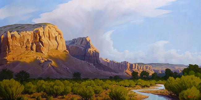 """Awakening"" Sunrise on cliffs. Stream in the desert. copyright Michael Baum | Original landscape paintings of Colorado and the Southwest"