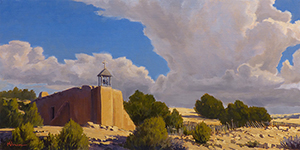 """""""Mission at Las Golondrinas"""" Mission church on the Camino Real in New Mexico. copyright Michael Baum, landscape paintings of Colorado and the Southwest"""