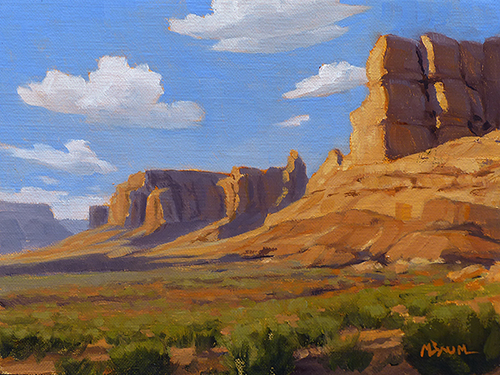 """""""Grazing Ghost Ranch"""" Cliffs, horse, Ghost Ranch, Georgia O'Keeffe. copyright Michael Baum 
