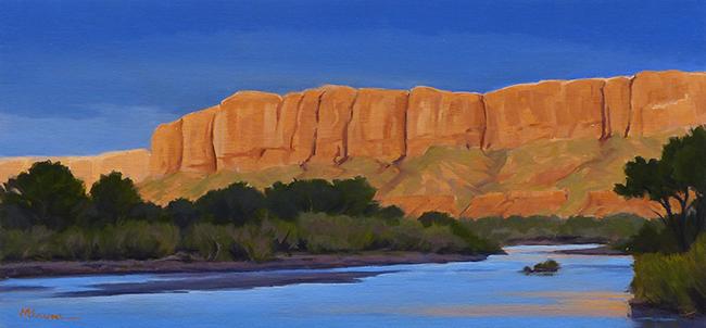 """San Juan Bluffs"" Setting sun lights up cliffs along the river, Bluff, Utah. copyright Michael Baum | Original oil paintings of Colorado and the Southwest"