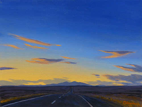 """""""Endless Highway"""" A straight road to the horizon at dusk. copyright Michael Baum 