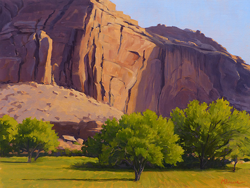 """Spring in Capitol Reef"" Spring-green trees contrast red rock cliffs. copyright Michael Baum 