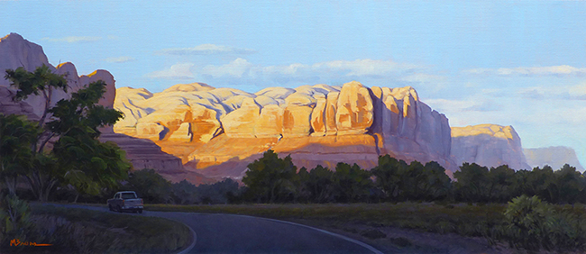 """Mile One"" Cliffs glow at the beginning an adventure near Bluff, Utah. copyright Michael Baum 