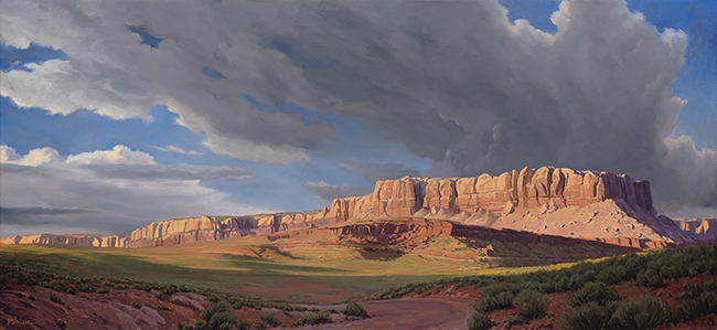 """Evening at the Bluffs""  Sandstone cliffs blaze in the evening sunlight, Butler Wash, Utah. copyright Michael Baum landscape paintings of Colorado and the Southwest"