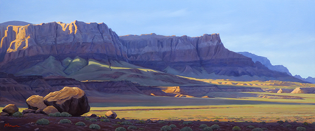 """Evening's Approach"" Dramatic light at the Vermilion Cliffs. coyright Michael Baum Landscape paintings of Colorado and the Southwest"