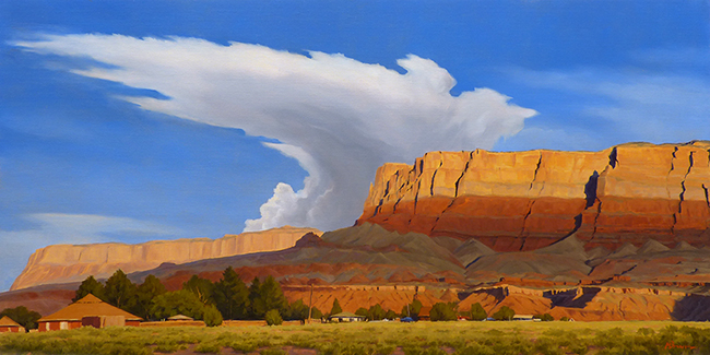 """""""Along the Camino Real"""" Mission church and thunderstorm rise from the earth at Las Golondrinas, New Mexico. copyright Michael Baum 