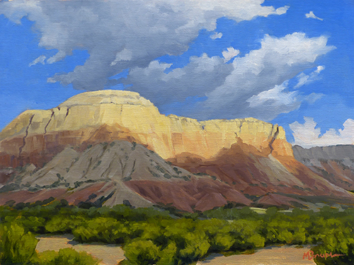 """""""Shadow on Kitchen Mesas"""" Ghost Ranch, New Mexico,  copyright Michael Baum 