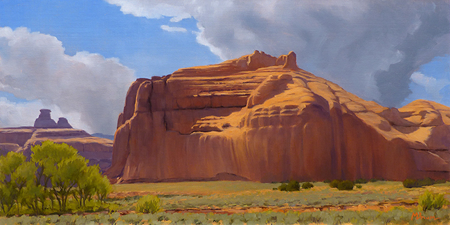 """""""Courthouse Wash"""" Sandstone monuments overlook upper Courthouse Wash in Arches National Park, Utah. copyright Michael Baum   Original landscape paintings of Colorado and the Southwest"""