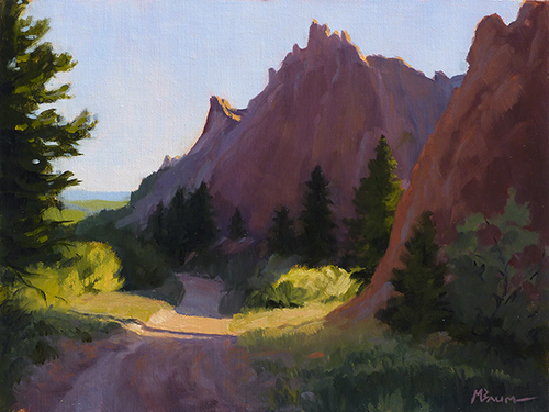 """""""Rocky Mountain Reach"""" Peaks rise above an alpine lake in Rocky Mountain National Park. copyright Michael Baum, landscape paintings of Colorado and the Southwest"""