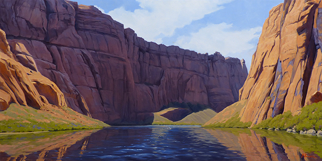 """Downstream Flow"" Floating down Glen Canyon near Lee's Ferry, Arizona. Sandstone cliffs, water. copyright Michael Baum 