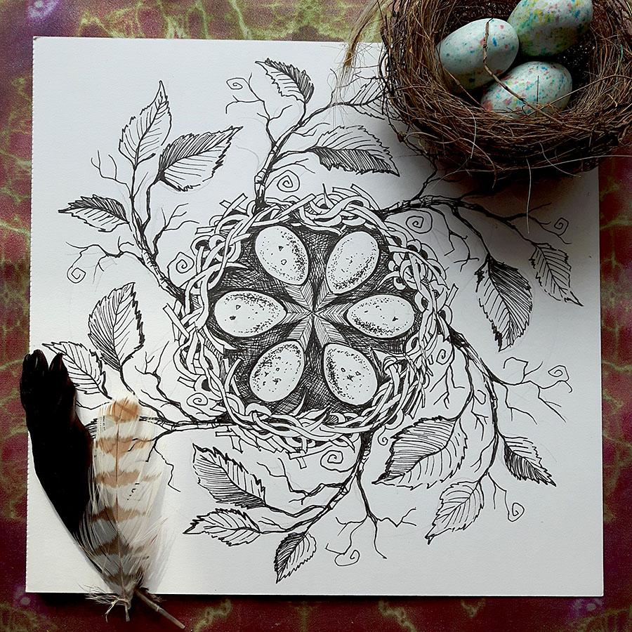 Colouring Book Nest Mandala